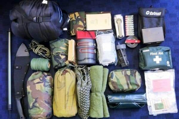 Survival kit that contains a mess kit