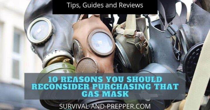 Military surplus gas masks hanging up for sale