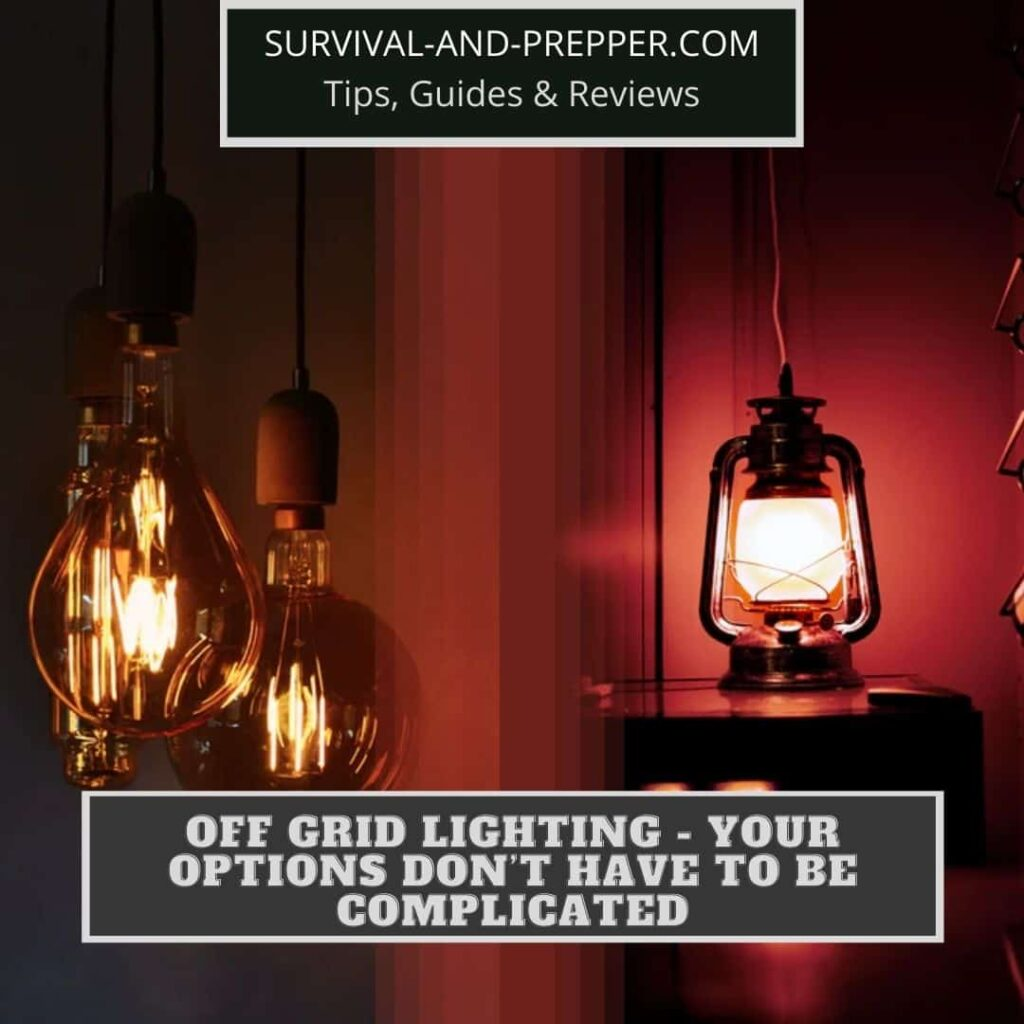 Instagram post for off grid lighting with lantern and bulbs