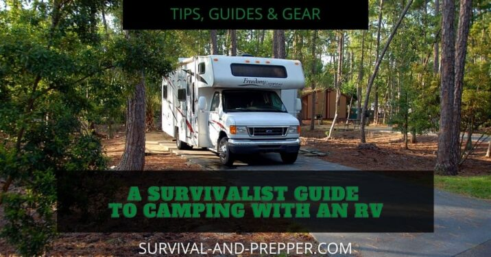White Rv in forest traveling to campground