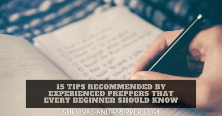 Title Page for 15 tips from experienced preppers, features a checklist of those items you should consider.